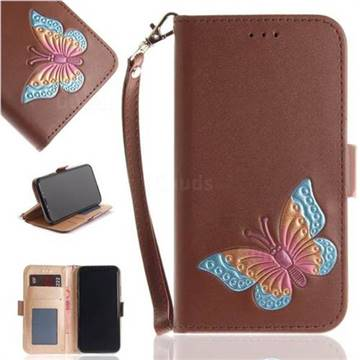 Imprint Embossing Butterfly Leather Wallet Case for iPhone XS / X / 10 (5.8 inch) - Brown