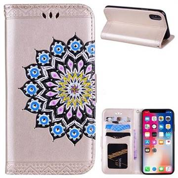 Datura Flowers Flash Powder Leather Wallet Holster Case for iPhone X(5.8 inch) - Golden