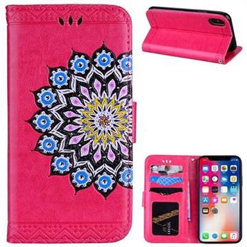 Datura Flowers Flash Powder Leather Wallet Holster Case for iPhone X(5.8 inch) - Rose