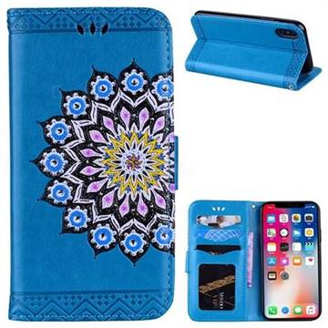 Datura Flowers Flash Powder Leather Wallet Holster Case for iPhone X(5.8 inch) - Blue