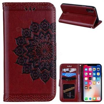 Datura Flowers Flash Powder Leather Wallet Holster Case for iPhone X(5.8 inch) - Brown
