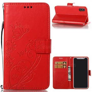 Embossing Butterfly Flower Leather Wallet Case for iPhone XS / X / 10 (5.8 inch) - Red