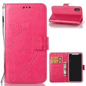 Embossing Butterfly Flower Leather Wallet Case for iPhone XS / X / 10 (5.8 inch) - Rose