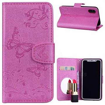 Embossing Butterfly Morning Glory Mirror Leather Wallet Case for iPhone XS / X / 10 (5.8 inch) - Rose