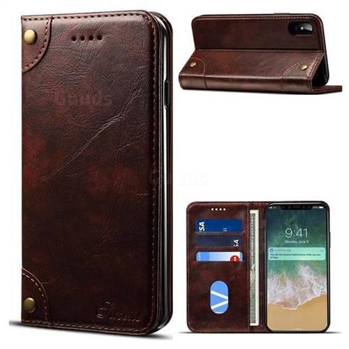 Suteni Retro Classic Minimalist PU Leather Wallet Phone Case for iPhone XS / X / 10 (5.8 inch) - Dark Brown