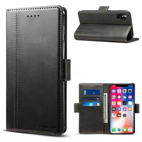 Suteni Calf Stripe Dual Color Leather Wallet Flip Case for iPhone XS / X / 10 (5.8 inch) - Black