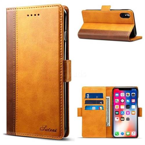 Suteni Calf Stripe Dual Color Leather Wallet Flip Case for iPhone XS / X / 10 (5.8 inch) - Khaki