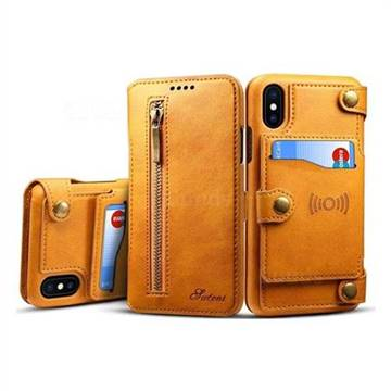 Suteni Retro 2 in 1 Separable Metal Zipper Buttons PU Leather Wallet Phone Case for iPhone XS / X / 10 (5.8 inch) - Khaki