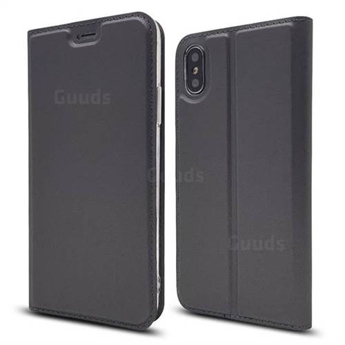 Ultra Slim Card Magnetic Automatic Suction Leather Wallet Case for iPhone XS / X / 10 (5.8 inch) - Star Grey