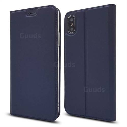 Ultra Slim Card Magnetic Automatic Suction Leather Wallet Case for iPhone XS / X / 10 (5.8 inch) - Royal Blue