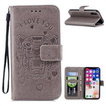 Intricate Embossing Tiger Leather Wallet Case for iPhone X(5.8 inch) - Gray