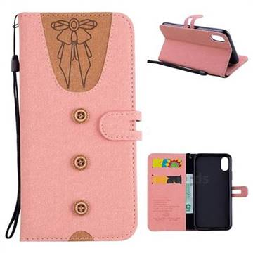 Ladies Bow Clothes Pattern Leather Wallet Phone Case for iPhone XS / X / 10 (5.8 inch) - Pink