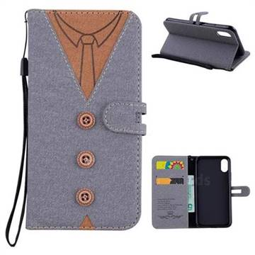 Mens Button Clothing Style Leather Wallet Phone Case for iPhone XS / X / 10 (5.8 inch) - Gray