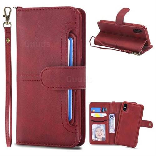 Retro Multi-functional Aristocratic Demeanor Detachable Leather Wallet Phone Case for iPhone XS / X / 10 (5.8 inch) - Red