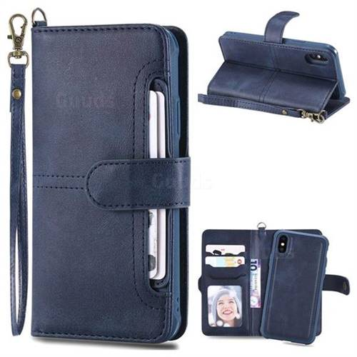 Retro Multi-functional Aristocratic Demeanor Detachable Leather Wallet Phone Case for iPhone XS / X / 10 (5.8 inch) - Blue