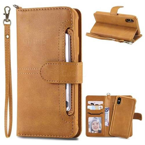 Retro Multi-functional Aristocratic Demeanor Detachable Leather Wallet Phone Case for iPhone XS / X / 10 (5.8 inch) - Brown