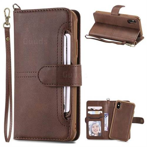 Retro Multi-functional Aristocratic Demeanor Detachable Leather Wallet Phone Case for iPhone XS / X / 10 (5.8 inch) - Coffee