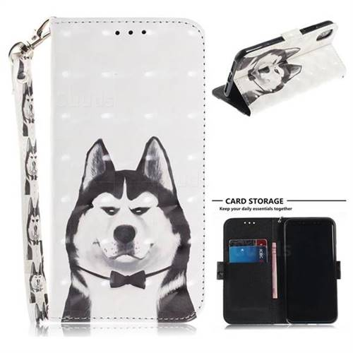 Husky Dog 3d Painted Leather Wallet Phone Case For Iphone Xs X 10 5 8 Inch