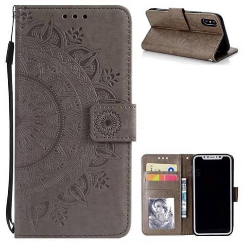 Intricate Embossing Datura Leather Wallet Case for iPhone XS / X / 10 (5.8 inch) - Gray