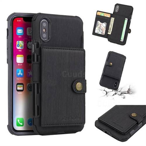 Brush Multi-function Leather Phone Case for iPhone XS / X / 10 (5.8 inch) - Black