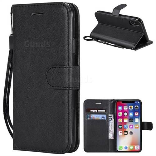 Retro Greek Classic Smooth PU Leather Wallet Phone Case for iPhone XS / X / 10 (5.8 inch) - Black