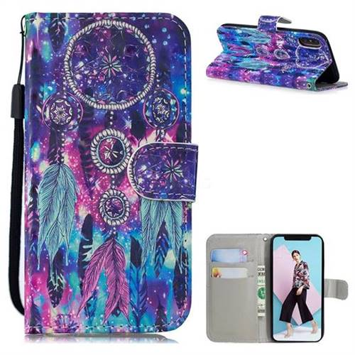 Star Wind Chimes 3D Painted Leather Wallet Phone Case for iPhone XS / iPhone X(5.8 inch)