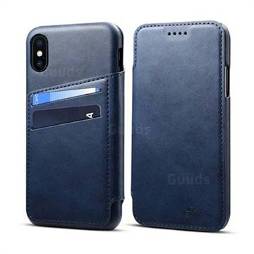 Suteni Retro Classic Card Slots PU Leather Wallet Case for iPhone XS / iPhone X(5.8 inch) - Blue