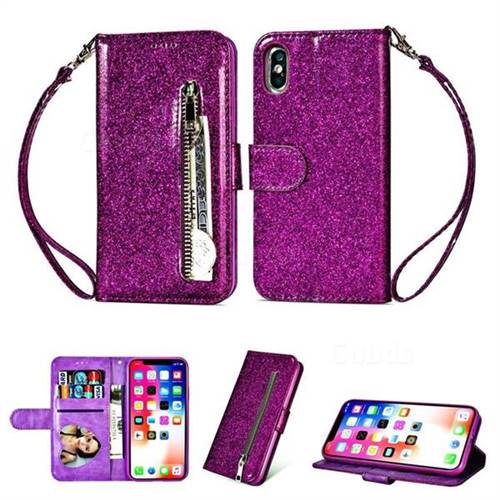 Glitter Shine Leather Zipper Wallet Phone Case for iPhone XS / iPhone X(5.8 inch) - Purple