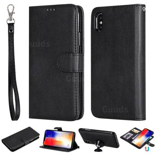 Retro Greek Detachable Magnetic PU Leather Wallet Phone Case for iPhone XS / iPhone X(5.8 inch) - Black