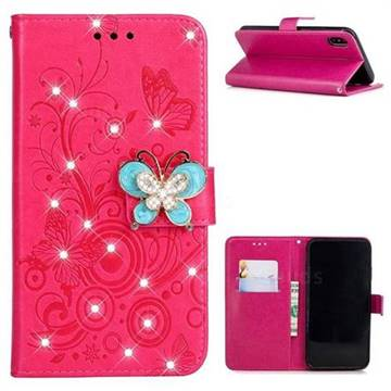 Embossing Butterfly Circle Rhinestone Leather Wallet Case for iPhone XS / iPhone X(5.8 inch) - Red