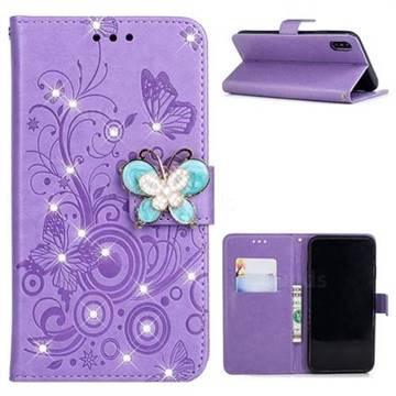 Embossing Butterfly Circle Rhinestone Leather Wallet Case for iPhone XS / iPhone X(5.8 inch) - Purple