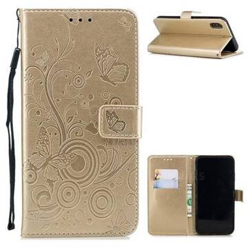 Intricate Embossing Butterfly Circle Leather Wallet Case for iPhone XS / iPhone X(5.8 inch) - Champagne