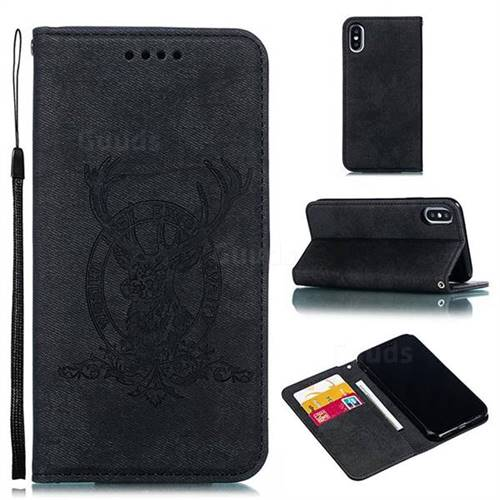 Retro Intricate Embossing Elk Seal Leather Wallet Case for iPhone XS / iPhone X(5.8 inch) - Black