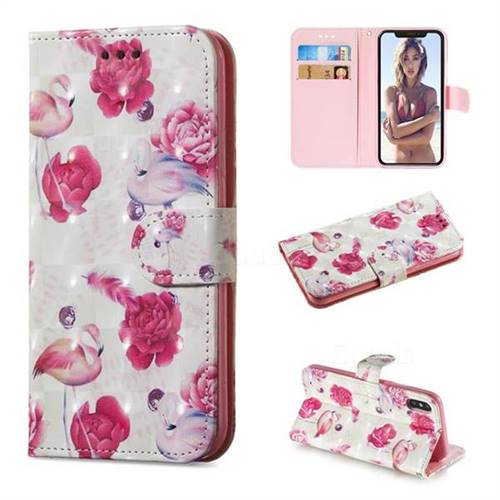 Flamingo 3D Painted Leather Wallet Phone Case for iPhone XS / iPhone X(5.8 inch)
