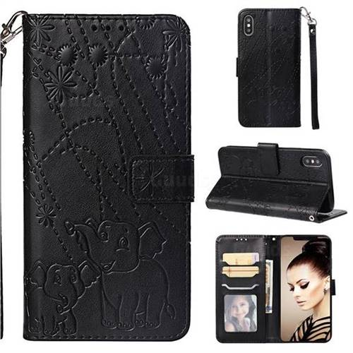 Embossing Fireworks Elephant Leather Wallet Case for iPhone XS / iPhone X(5.8 inch) - Black