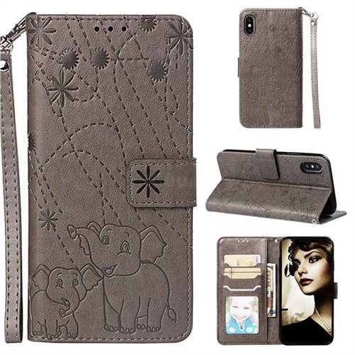Embossing Fireworks Elephant Leather Wallet Case for iPhone XS / iPhone X(5.8 inch) - Gray