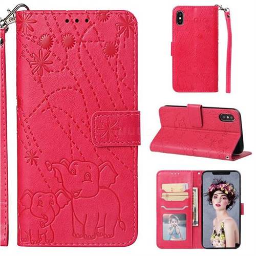 Embossing Fireworks Elephant Leather Wallet Case for iPhone XS / iPhone X(5.8 inch) - Red