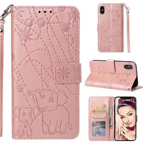 Embossing Fireworks Elephant Leather Wallet Case for iPhone XS / iPhone X(5.8 inch) - Rose Gold