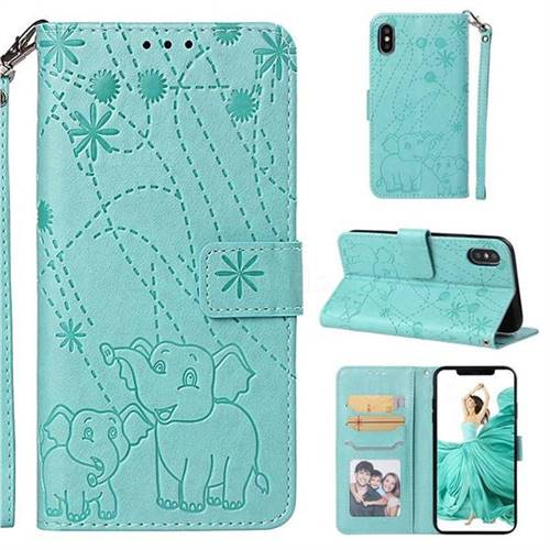 Embossing Fireworks Elephant Leather Wallet Case for iPhone XS / iPhone X(5.8 inch) - Green