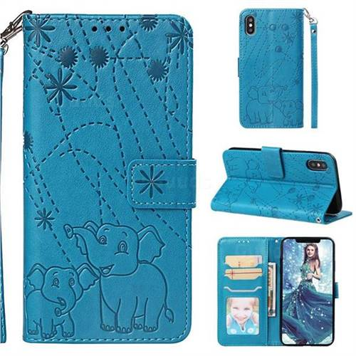 Embossing Fireworks Elephant Leather Wallet Case for iPhone XS / iPhone X(5.8 inch) - Blue