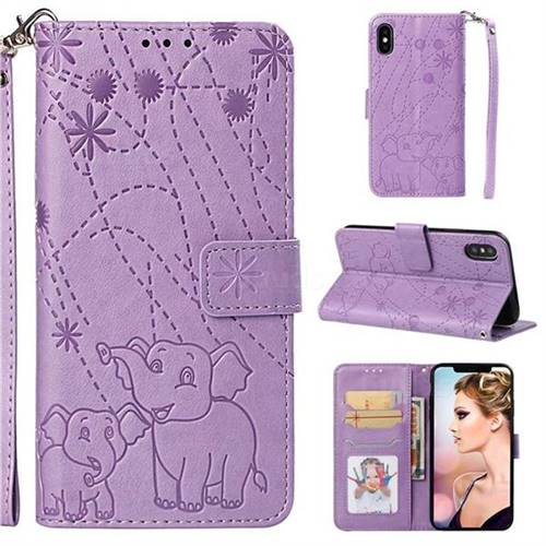 Embossing Fireworks Elephant Leather Wallet Case for iPhone XS / iPhone X(5.8 inch) - Purple