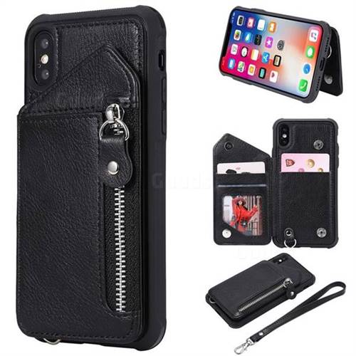 Classic Luxury Buckle Zipper Anti-fall Leather Phone Back Cover for iPhone XS / iPhone X(5.8 inch) - Black