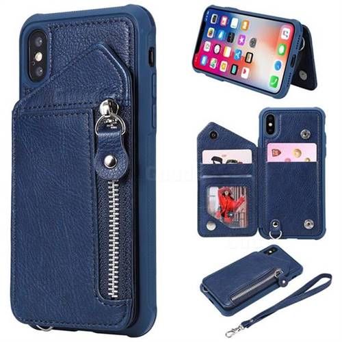 Classic Luxury Buckle Zipper Anti-fall Leather Phone Back Cover for iPhone XS / iPhone X(5.8 inch) - Blue