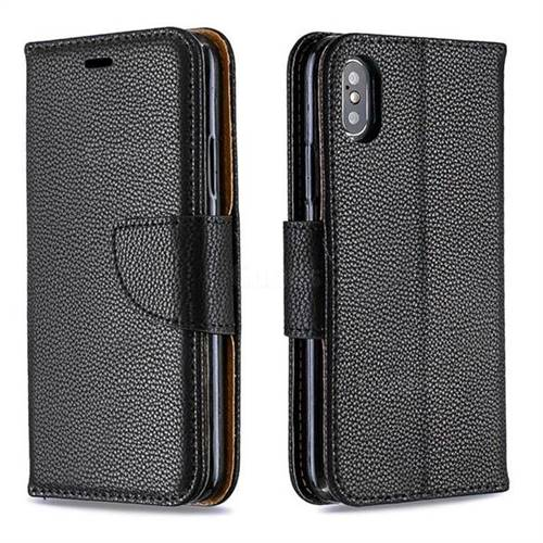 Classic Luxury Litchi Leather Phone Wallet Case for iPhone XS / iPhone X(5.8 inch) - Black