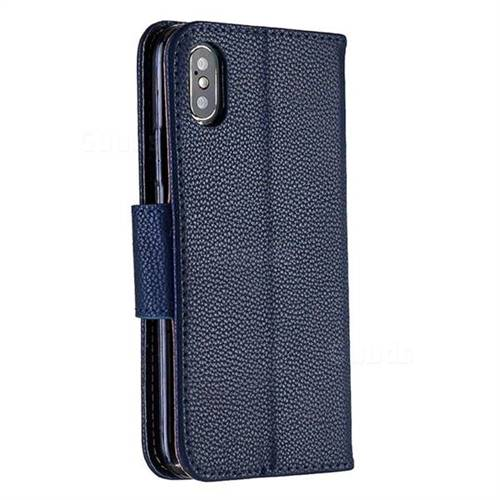 finest selection 69f72 31ad7 Classic Luxury Litchi Leather Phone Wallet Case for iPhone XS / iPhone  X(5.8 inch) - Blue
