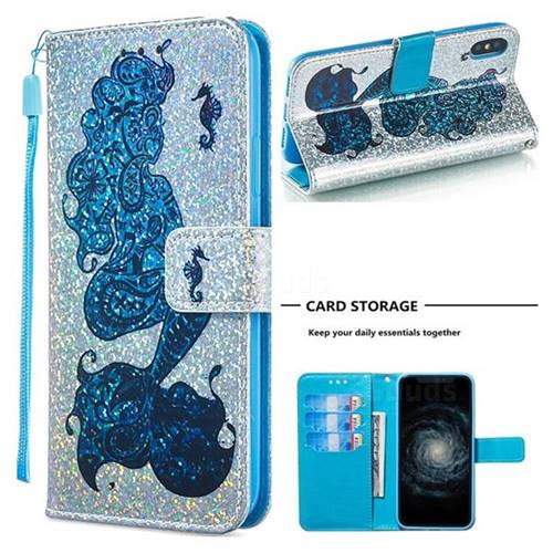 Mermaid Seahorse Sequins Painted Leather Wallet Case for iPhone XS / iPhone X(5.8 inch)