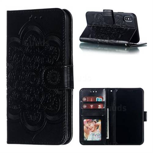 Intricate Embossing Datura Solar Leather Wallet Case for iPhone XS / iPhone X(5.8 inch) - Black