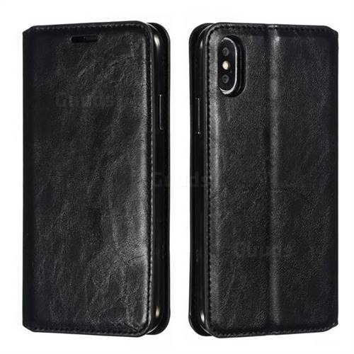 Retro Slim Magnetic Crazy Horse PU Leather Wallet Case for iPhone XS / iPhone X(5.8 inch) - Black