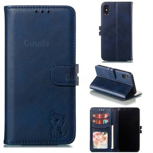 Embossing Happy Cat Leather Wallet Case for iPhone XS / iPhone X(5.8 inch) - Blue