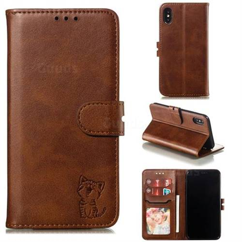 Embossing Happy Cat Leather Wallet Case for iPhone XS / iPhone X(5.8 inch) - Brown